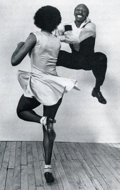 "'Lindy hop' dancers.   ""The Lindy Hop evolved in Harlem, New York City in the 1920s and 1930s...Lindy was a fusion of many dances that preceded it or were popular during its development but is mainly based on jazz, tap, breakaway and Charleston"".  Get me to a class right now!"
