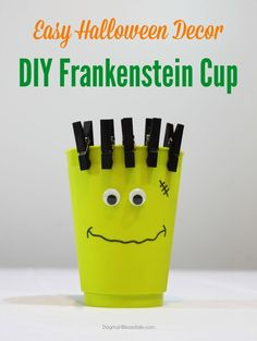 This DIY Frankenstein Cup is super easy to make and perfect for your Halloween parties or decorating.