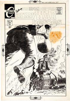 Original Comic Art:Covers, Sam Glanzman Army War Heroes #34 Cover Original Art(Charlton, 1969).... Image #1
