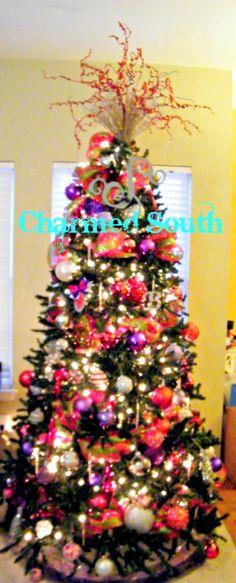deco mesh red/purple/silver Charmed South Christmas tree. christma wreath, south christma, christma tree, christmas trees