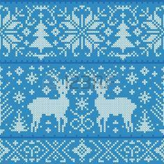 Ilustración del vector de la Navidad sin patrón, con ciervos, árboles y copos de nieve Foto de archivo
