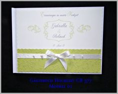 Gästebuch Hochzeit, Geschenk, Maigrün, Creme, Perlen GB 377