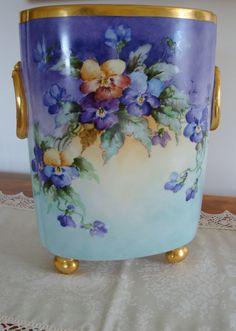 Antique Limoges France Hand Painted Porcelain Cachet Pot- Vase ~Gorgeous Pansies and Violets~  c.1900