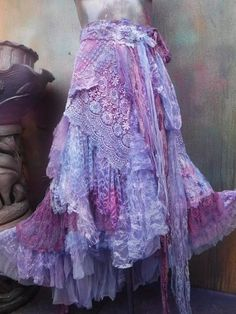 wedding skirt,tattered skirt, stevie nicks, bohemian skirt, boho skirt, gypsy skirt, lagenlook skirt,OAK, shabby wrap skirt.. she,s a beautiful bohemian wrap around shabby skirt sprayed over in lilac/pink and blue fabric paints and kissed with bridal lace