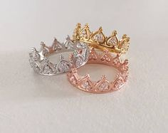 Prinzessin Krone Ring - Tiara Ring - stapelbare Ring - Knöchel Stapel schlank - Rose Gold Ring - Sterling Silber Ring - Valentinstag - 2020 Fashions Woman's and Man's Trends 2020 Jewelry trends Cute Jewelry, Gold Jewelry, Jewelery, Jewelry Accessories, Cheap Jewelry, Pandora Jewelry, Party Accessories, Gold Bracelets, Jewelry Box