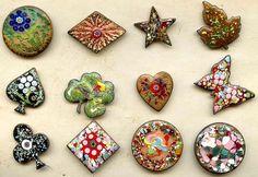 Vintage enameling on copper studio buttons by Herman Lowenstein.