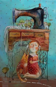 ideas for sewing machine illustration art Art And Illustration, Art Fantaisiste, Art Populaire, Sewing Art, Naive Art, Whimsical Art, Cat Art, Illustrators, Folk Art