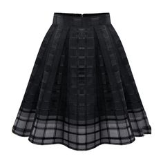 Zipper Plaid Pleated Chiffon Skirt ($13) ❤ liked on Polyvore featuring skirts, bottoms, black, black skirt, black zipper skirt, chiffon knee length skirt, tartan plaid skirt and zip skirt