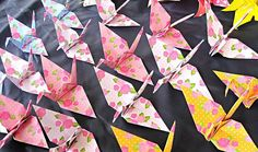 1000 Origami Paper Cranes   Rose Print Origami by GraceinCrease