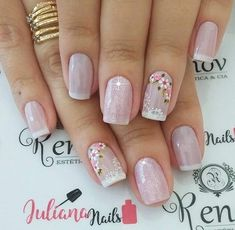Ideas For Nails Design Valentines French Nailart Diy Nails, Cute Nails, Pretty Nails, Nailart, Best Nail Art Designs, Flower Nails, Gorgeous Nails, Cool Nail Art, Simple Nails