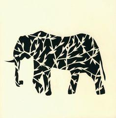 Elephant paper cutting