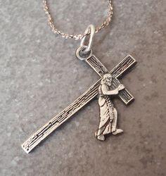 Jesus Carrying Cross Necklace Sterling Silver Vintage 032917BT