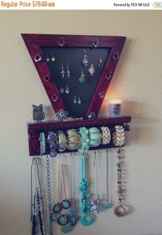 Earring Holder and Jewelry Organizer Wooden Wall Hanging Jewelry
