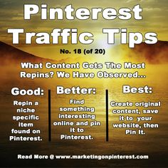 Pinterest Traffic Tips - this is such good advice. Try mixing what you pin, but don't forget your own original content.  www.creationsocialmedial.com