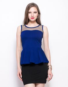 Cobalt Dash Peplum Top : We're still not over peplums! Take your peplum love to a new zone with this coolest cobalt jersey number that features a black mesh yoke and a back zip closure. Regular fit.  Work It - Looks rad with a black pencil skirt and a gold tone crystal cuff