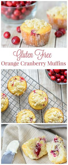 Gluten Free Orange Cranberry Muffins. Made with healthy almond flour, these gluten free muffins are a yummy way to start the day!