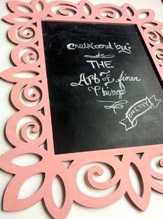Lg. Coral Pink Laser Cut Wood Frame Chalkboard- framed chalkboard decorative custom chalkboard chalk board blackboard wall decor op Etsy, 40,89€