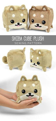 Shiba cube plush - Sew desu ne