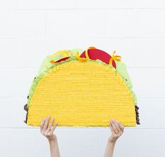 Taco pinata one of my student did one almost like this one, just more color on the vegetables and cheese drippings!!