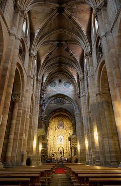 San Vincente Basilica Interior Avila Spain - Joan Carroll   #avila #spain #basilica #church #cathedral #sanvicente #altar #nave