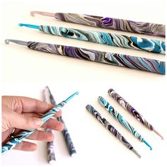 Do your hands hurt when you crochet? Make your hands more comfortable with this EASY PHOTO TUTORIAL for making polymer clay crochet hook handles.