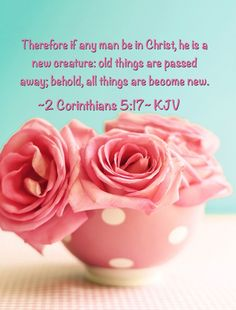 Therefore if any man be in Christ, he is a new creature: old things are passed away; behold, all things are become new.