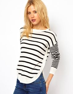 Stripe With Button Side Sweater
