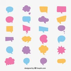 Colourful speech bubble collection Free Vector