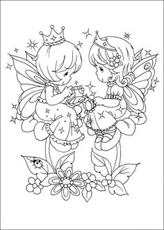 A stunning pin from one of my favourite pinner's fabulous boards @cheryl ng ng Lohmann  #coloring page; #Precious moments #fairies