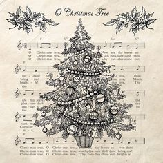 Christmas Tree Black Decoupage Napkin