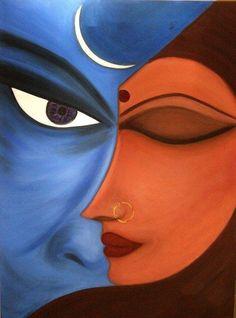 Shiva Shakti Featured Images - Shiva Shakti by Darpan Kaur Lord Shiva Painting, Krishna Painting, Shiva Art, Shiva Shakti, Indian Art Paintings, Modern Art Paintings, Cool Art Drawings, Art Drawings Sketches, Pencil Drawings