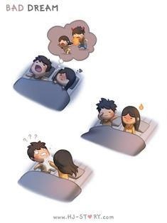 """""""Sometimes she'd have a bad dream where and wake up very grumpy and upset at me and I get so confused…"""" - Hj Story Love Cartoon Couple, Cute Couple Comics, Cute Comics, Cute Love Stories, Cute Love Quotes, Love Story, Hj Story, Love Is Comic, Cute Love Pictures"""