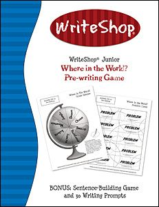 """WriteShop FREEBIE: """"Where in the World"""" writing game + 30 exciting writing prompts + fun bonus activity. PLUS off coupon! Writing Games, Pre Writing, Teaching Writing, Writing Activities, Writing Prompts, Writing Ideas, Teaching Ideas, Free Homeschool Curriculum, Homeschooling"""