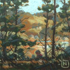 Through a stately pine frame we could see the lazy hills resting in the afternoon sun. Location: Point Reyes, Ca Medium: Pastel on Paper Size: x Environment Concept Art, Environment Design, Adult Art Classes, Character Design Tips, Picture Design, Still Life, Scenery, Decoration, Nature