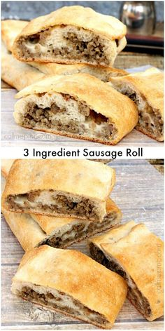 Only three ingredients in this quick and easy Sausage Roll makes it quick, easy and always a crowdpleaser! Trying with Italian Sausage, seasonings & mozz cheese, even pizza sauce to make a dinner sandwich, making sure to pinch edges closed tightly. Sandwiches, Breakfast Dishes, Breakfast Recipes, Sausage Breakfast, Pancake Recipes, Tapas, Pork Recipes, Cooking Recipes, Recipies