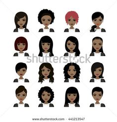 Vector Illustration of Black Women avatar. Faces and hair styles. Vector stock illustration
