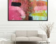 abstract pink art pink Paintinggren pink Modern by BuyWallArt Pink Art, Pink Blue, Blue Art, Mint Green, Pink Abstract, Abstract Print, Green Paintings, Pink Painting, Color Rosa