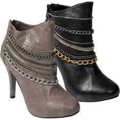 Anne Michelle by Journee Womens Chain Trim High Heel Bootie Shoes... :)))