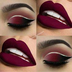 Make up tutorials. Make up products. Make up ideas. Make up on a budget Red Lip Makeup, Makeup Eye Looks, Cute Makeup, Gorgeous Makeup, Eyeshadow Makeup, Hair Makeup, Maroon Makeup, Black And Red Makeup, Eyeshadow Brushes