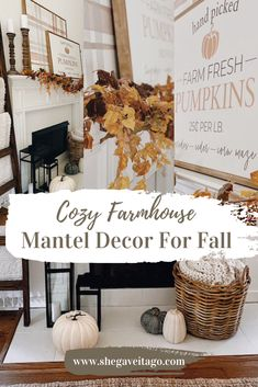 Cozy Farmhouse Mantel Decor for Fall featured by top AL home decor blogger, She Gave It A Go Harvest Decorations, Fall Mantel Decorations, Fall Fireplace Mantel, Easy Fall Crafts, Fall Diy, Farmhouse Mantel, Small Lanterns, Porch Decorating, Decorating Ideas