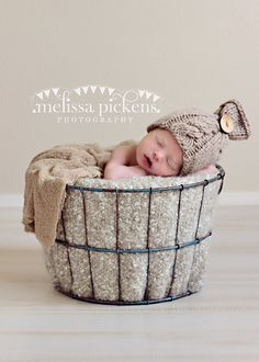 baby boy  cabled knitted pixie hat, infant photo prop, stretches 0-3 months,newborn photography prop,baby shower gift. $19,99, via Etsy.