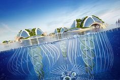 Aequorea is the name of Vincent Callebaut's latest proposal, which envisions a future underwater city of ocean buildings built out of waste. Sustainable City, Sustainable Architecture, Futuristic City, Futuristic Architecture, Minimalist Architecture, Islamic Architecture, Architecture Design, Future City, Vincent Callebaut