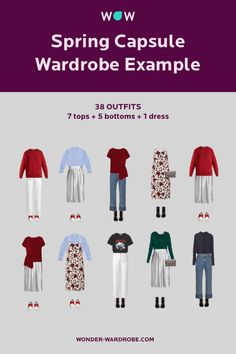 This capsule wardrobe for Spring season includes 7 tops, 5 bottoms, 1 dress, 1 jacket, 1 bag and 3 pairs of shoes, resulting in over 39 possible outfits.