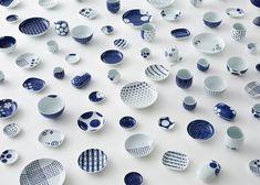 Patterned Japanese porcelain by Nendo for Gen-emon