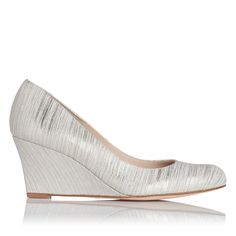 Zahara Metallic Cream Striped Wedge Courts   Court Shoes   L.K.Bennett