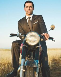 John Hamm riding a Harley...yum