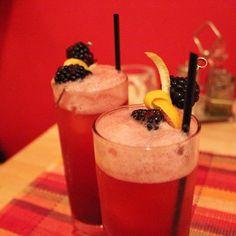 blueberry-thyme collins 2 oz gin 1 oz lemon .75 oz simple syrup 4