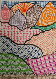 Bricks & Wood- School Art Activities: Zentangle Landscapes and Mountains