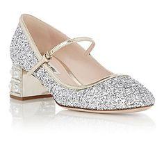 MIU MIU Glitter Mary Jane Pumps sliver 1