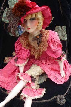 Antique French Boudoir Doll Paris 1920 Silk Fashion Doll HAT   eBay